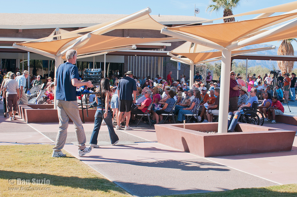 Visitors gather for the Grand Re-Opening of the Furnace Creek Visitor Center in Death Valley National Park, California, on November 4, 2012.