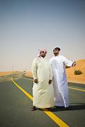 Emirati hip hop duo, Desert Heat consisting of Salim Dahman AKA 'Illmiyah'  and Abdullah Dahman AKA 'Arableak photographed in the desert just outside Dubai, UAE on Saturday June 13, 2009. Photo by Siddharth Siva/arabianEye