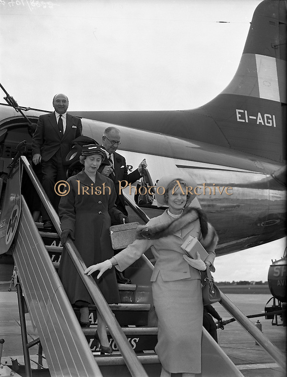 08/06/1957<br /> 06/08/1957<br /> 08 June 1957<br /> <br /> Herbert Wilcox and Anna Neagle arriving at Dublin Airport<br /> <br /> <br /> Dame Anna Neagle, DBE (20/10/1904 – 03/06/1986), born Florence Marjorie Robertson, was a popular British stage and motion picture actress and singer.<br />Neagle proved to be a box-office sensation in British films for over 25 years. She was noted for providing glamour and sophistication to war-torn London audiences with her lightweight musicals, comedies and historical dramas. She won several awards as Britain's favourite actress and biggest female box-office draw. Almost all of her films were produced and directed by Herbert Wilcox, whom she married in 1943.<br />In her historical dramas, Neagle was renowned for her portrayals of real-life British heroines, including Nell Gwynn (Nell Gwynn, 1934), Queen Victoria (Victoria the Great, 1937, and Sixty Glorious Years, 1938) and Edith Cavell (Nurse Edith Cavell, 1939).