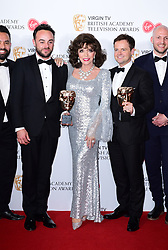 (left to right) Ant McPartlin, Joan Collins and Declan Donnelly with the award for Best Entertainment Programme in the press room at the Virgin TV British Academy Television Awards 2017 held at Festival Hall at Southbank Centre, London. PRESS ASSOCIATION Photo. Picture date: Sunday May 14, 2017. See PA story SHOWBIZ Bafta. Photo credit should read: Ian West/PA Wire