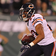 Kyle Fuller, Chicago Bears, after intercepting a Geno Smith pass in the end zone intended for David Nelson,  New York Jets, during the New York Jets Vs Chicago Bears, NFL regular season game at MetLife Stadium, East Rutherford, NJ, USA. 22nd September 2014. Photo Tim Clayton for the New York Times