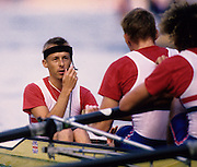 Bled, Slovenia, YUGOSLAVIA. GBR M8+,  Cox Adrian ELLISON 1989 World Rowing Championships, Lake Bled. [Mandatory Credit. Peter Spurrier/Intersport Images]