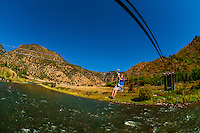 Ziplining over the Colorado River, Glenwood Canyon zipline adventures, Glenwood Springs, Colorado USA