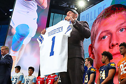 April 26, 2018 - Arlington, TX, U.S. - ARLINGTON, TX - APRIL 26: Leighton Vander Esch holds up a jersey after being chosen by the Dallas Cowboys with the 19th pick during the first round at the 2018 NFL Draft at AT&T Statium on April 26, 2018 at AT&T Stadium in Arlington Texas.  (Photo by Rich Graessle/Icon Sportswire) (Credit Image: © Rich Graessle/Icon SMI via ZUMA Press)