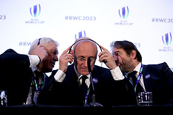 France 2023 bid president Claude Atcher (left), French Rugby Federation president Bernard Laporte (centre) and Serge Simon (right) during the 2023 Rugby World Cup host union announcement at The Royal Garden Hotel, Kensington. PRESS ASSOCIATION Photo. Picture date: Wednesday November 15, 2017. Photo credit should read: John Walton/PA Wire. RESTRICTIONS: Editorial use only. No commercial use without prior permission.