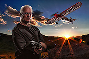 USA, Colorado, Rocky Mountain National Park, Composite portrait of man with his RC plane. MR