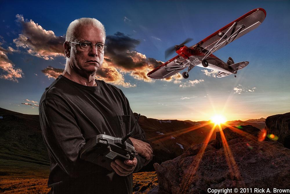 USA, Colorado, Rocky Mountain National Park, Composite portrait of man with his RC plane. MR