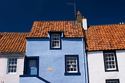Traditional fishermens housing in St Monans village in Fife Scotland