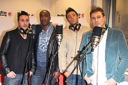 (L-R Antony Costa, Duncan James, , Simon Webbe, Lee Ryan). British boy band Blue Visit Radio Hamburg, Germany,  February 1, 2013. Photo by Imago / i-Images...UK ONLY