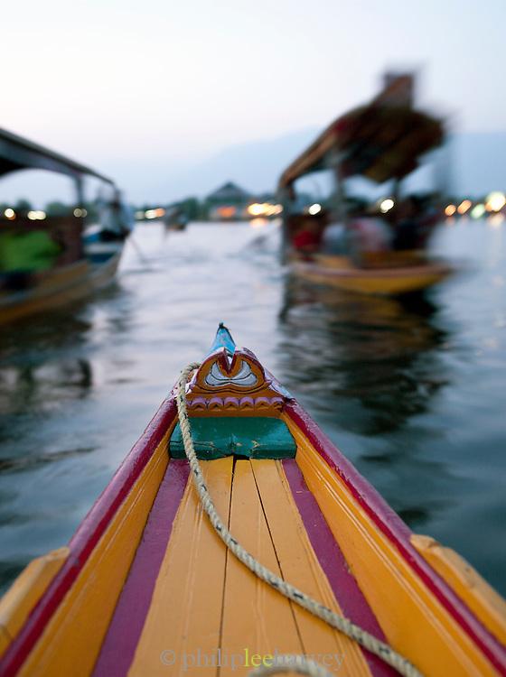 Shikaras, local wooden boats, at the floating market in Srinigar Kashmir, India