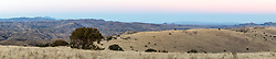 Dusk landscape panorama near Indian Peak, Ladder Ranch, west of Truth or Consequences, New Mexico, USA.