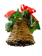 wicker hand made Chrimas bell decoration, cut out