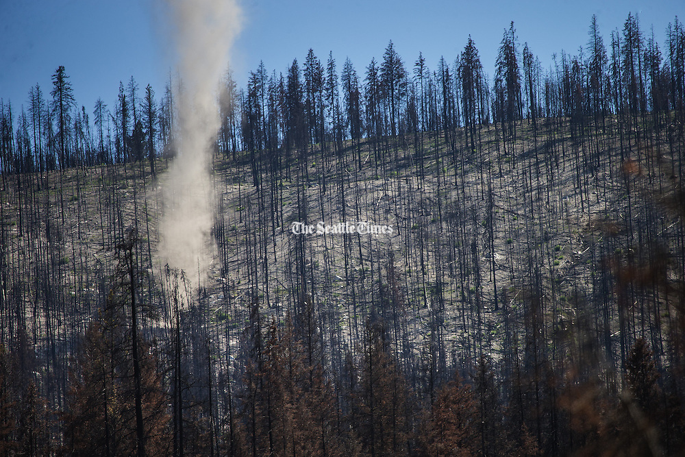 On a hillside above Hwy. 20 in the Okanogan National Forest, a fire thought to be extinguished appears to get started again Wednesday, July 1, 2015.<br /> <br /> Dean Rutz / The Seattle Times