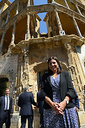 "Paris Mayor Anne Hidalgo visits the ""Beit Beirut"" foundation and museum, also known as ""La Maison jaune"" or ""The Yellow House"", in Beirut, Lebanon, on September 29, 2016. ""Beit Beirut"" is a project that is helped and funded by Paris City to keep a place for the memory of Beirut and of Lebanon's civil war (1975-1990) in this building once located on the ""green line"" that used to separate the city in two parts. Photo by Balkis Press/ABACAPRESS.COM"