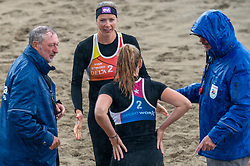 Madelein Meppelink, Loladina Zwaanswijk in action. The DELA NK Beach volleyball for men and women will be played in The Hague Beach Stadium on the beach of Scheveningen on 22 July 2020 in Zaandam.
