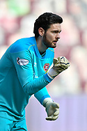 Craig Gordon (#1) of Heart of Midlothian FC lines up a wall for a free kick during the SPFL Championship match between Heart of Midlothian and Dundee at Tynecastle Park, Edinburgh, Scotland on 6 March 2021.