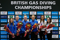 Medallists for the Womens 3m Synchro Springboard Final. (L-R) Silver Medallists Robyn Birch and Shanice Lobb of Plymouth Diving, Gold Medallists Sarah Barrow and Tonia Couch of Plymouth Diving, Bronze Medallists Sarah White and Lauren Grinstead of Southampton Diving Academy - Photo mandatory by-line: Rogan Thomson/JMP - 07966 386802 - 20/02/2015 - SPORT - DIVING - Plymouth Life Centre, England - Day 1 - British Gas Diving Championships 2015.