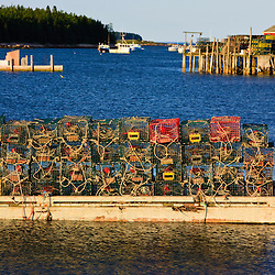 Lobster traps at the town landing in Beals Island, Maine.