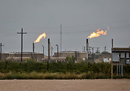 Flares at an oil and gas industry site in the Permain Basin in Texas.