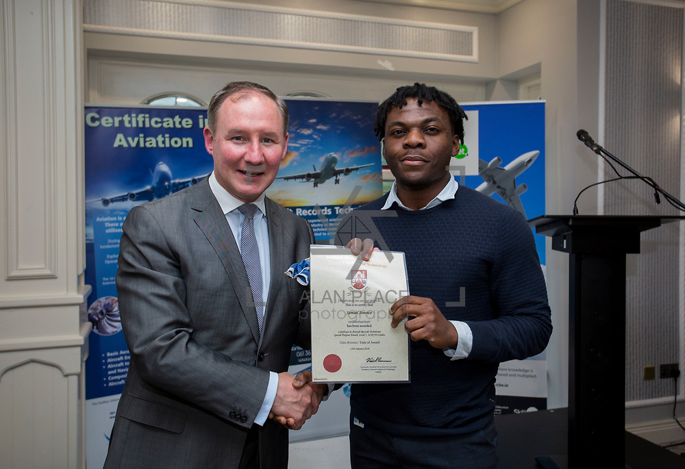 24.05.2018.       <br /> The Limerick Institute of Technology with Atlantic Air Adventures and funding from the Aviation Skillnet presented over forty certificates to Aviation professionals who have completed the Certificate in Aviation, The Aircraft Records Technician Level 7 and Part 21 Design, Level 7.<br /> <br /> Pictured at the event was Jim Gavin, The Irish Aviation Authority and Manager of the Dublin Football Team who presented, Samuel Sonowo with their cert.<br /> <br /> LIT in partnership with Atlantic Air Adventures, CAE Parc Aviation, Part 21 Design and industry experts such as Anton Tams, GECAS, Don Salmon, CAE Parc Aviation and Mick Malone, Part 21 Design have developed and deliver these key training programmes with funding for aviation companies provided by The Aviation Skillnet.<br /> <br /> . Picture: Alan Place
