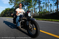 Don Baker riding his 1941 Indian 741B in the Cross Country Chase motorcycle endurance run from Sault Sainte Marie, MI to Key West, FL. (for vintage bikes from 1930-1948). 287 mile ride of Stage-8 from Tallahassee to Lakeland, FL USA. Friday, September 13, 2019. Photography ©2019 Michael Lichter.