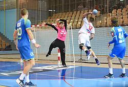 Rok Zaponsek of Slovenia and Bogdan Radivojevic of Serbia during friendly handball match between Slovenia and Srbija, on October 27th, 2019 in Športna dvorana Lukna, Maribor, Slovenia. Photo by Milos Vujinovic / Sportida