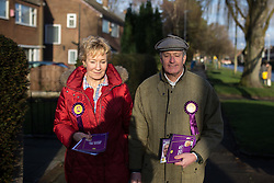 © Licensed to London News Pictures . 10/02/2014 . Sale , UK . Neil and Christine Hamilton leafleting and knocking on doors on Wendover Road in Sale  . Neil Hamilton , Deputy Chairman of UKIP , and his wife , Christine Hamilton , campaign for UKIP on the trail for the Wythenshawe and Sale East by-election , today (Monday 10th February 2014) . UKIP 's candidate , John Bickley , is widely predicted to come second . The election was called after the death of the Labour MP , Paul Goggins . Photo credit : Joel Goodman/LNP