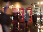 Telephone boxes near Charing cross station, London. 10 December 2016