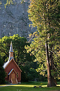 Yosemite Chapel and pine tree in early fall, Yosemite National Park, California.