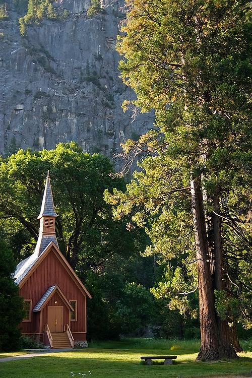 Yosemite Chapel and pine tree in early fall, Yosemite National Park, California.