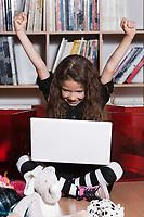 caucasian little girl computing success isolated studio