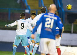 Forfar Athletic's Lewis Milne scoring their first goal. half time : Cowdenbeath 1 v 2 Forfar Athletic, Scottish Football League Division Two game played 17/12/2016 at Central Park.