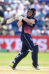 England's Eoin Morgan in batting action during the ICC Champions Trophy, semi-final match at the Cardiff Wales Stadium.