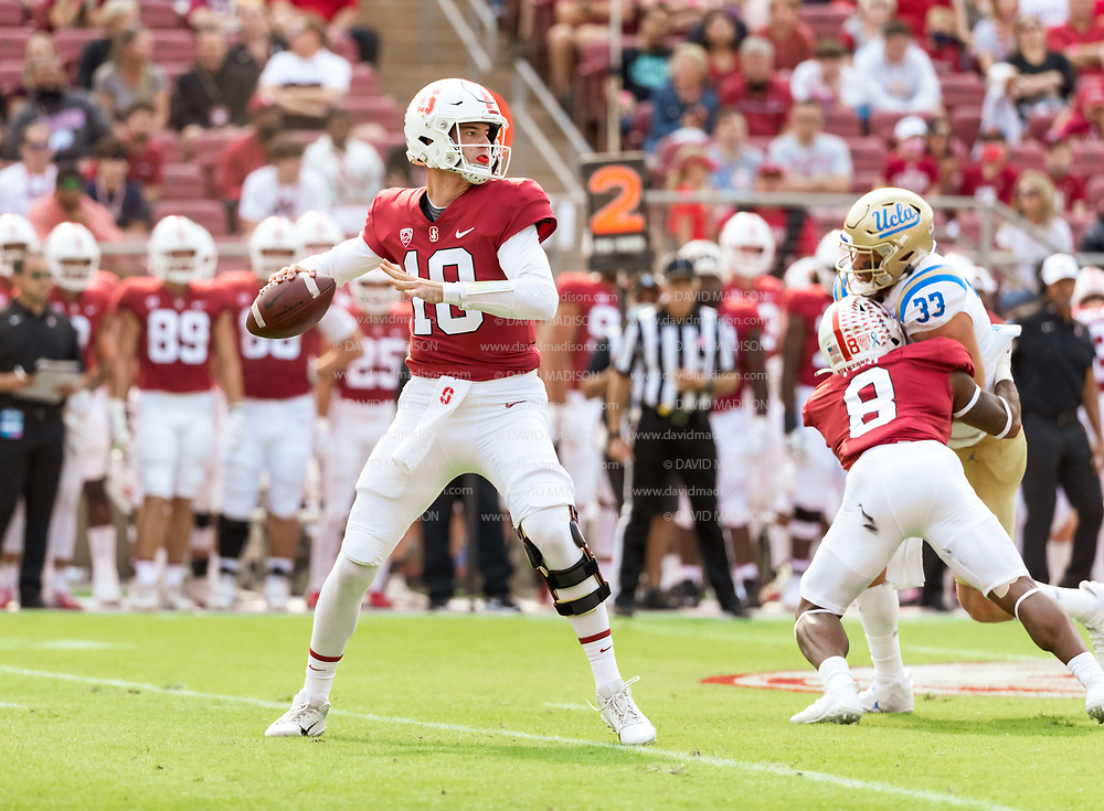 PALO ALTO, CA - SEPTEMBER 26:  Tanner McKee #18 of the Stanford Cardinal plays in an NCAA Pac-12 college football game against the UCLA Bruins on September 26, 2021 at Stanford Stadium in Palo Alto, California.  (Photo by David Madison/Getty Images)