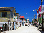 Unpaved Front Street, San Pedro, Ambergris Caye, Belize.