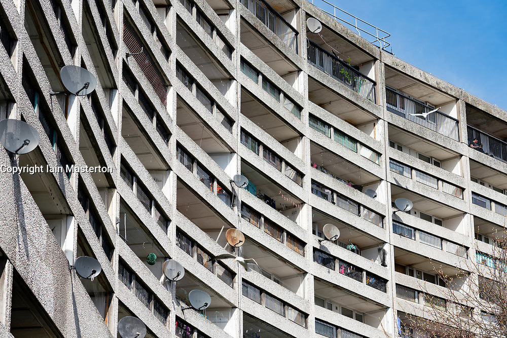 Exterior view of Cables Wind House apartment block, known as the Banana Flats, in Leith, Scotland, UK
