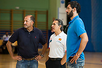 Coach Sergio Scaliolo (C) and FEB President Jorge Garbajosa (R) during the Spain training session before EuroBasket 2017 in Madrid. August 02, 2017. (ALTERPHOTOS/Borja B.Hojas)