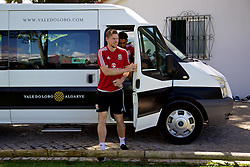 VALE DO LOBO, PORTUGAL - Friday, May 27, 2016: Wales' Simon Church arrives for training on during day four of the pre-UEFA Euro 2016 training camp at the Vale Do Lobo resort in Portugal. (Pic by David Rawcliffe/Propaganda)