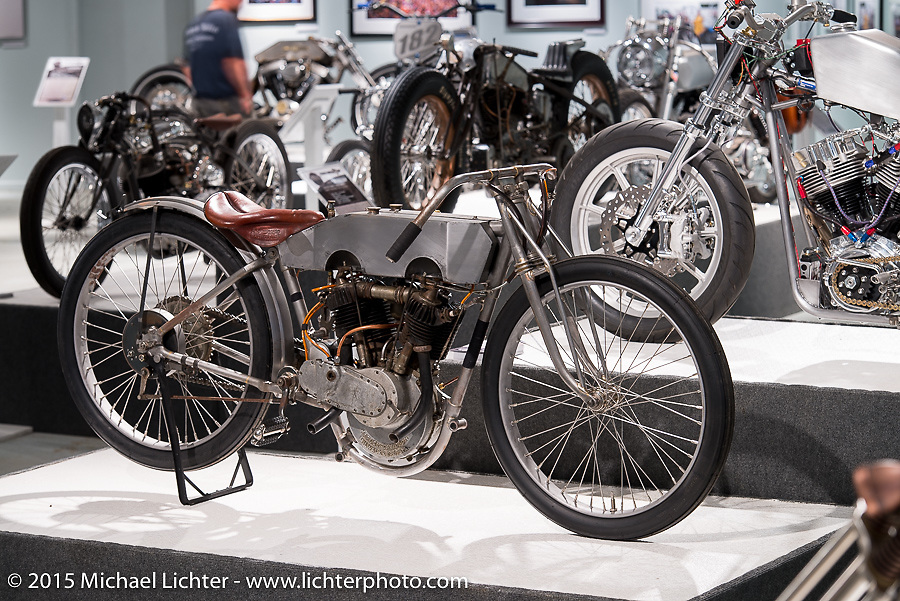 """Bill Rodencal's 1915 Harley-Davidson Model 11-KR Michael Lichter's Motorcycles as Art annual exhibition titled """"The Naked Truth"""" at the Buffalo Chip Gallery during the 75th Annual Sturgis Black Hills Motorcycle Rally.  SD, USA.  August 4, 2015.  Photography ©2015 Michael Lichter."""