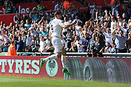 Fernando Llorente of Swansea city (c) celebrates after he scores his teams 1st goal.  Premier league match, Swansea city v Stoke City at the Liberty Stadium in Swansea, South Wales on Saturday 22nd April 2017.<br /> pic by Andrew Orchard, Andrew Orchard sports photography.