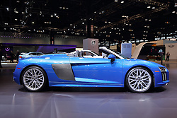 09 February 2017: Audi R8 Spyder V10 convertible<br /> <br /> First staged in 1901, the Chicago Auto Show is the largest auto show in North America and has been held more times than any other auto exposition on the continent.  It has been  presented by the Chicago Automobile Trade Association (CATA) since 1935.  It is held at McCormick Place, Chicago Illinois<br /> #CAS17