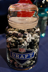 A jar of custom Eagles M and M's on the Philadelphia Eagles Draft desk before the first round of the NFL Draft on April 26th 2012 at Radio City Music Hall in New York, New York. (AP Photo/Brian Garfinkel)