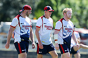 Chris Hill, Wayne Bennett and James Graham at a very hot training session. England Rugby League Team training at Redfern Oval, Sydney, Australia. 30 October 2017. Copyright Image: David Neilson / www.photosport.nz