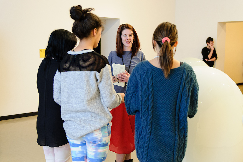 Claire Hopkins, Gallery Educator speaks with students at the Seung Yul Oh MOAMOA, A Decade exhibition, Wellington. Friday 27 June 2014. Wellington Museums Trust. <br /> Photo: Mark Tantrum / www.marktantrum.com