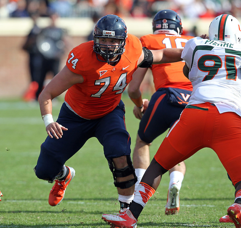Virginia Cavaliers defensive end Cameron Fitch (74) during the game against the Miami Hurricanes at Scott Stadium in Charlottesville, VA. Virginia won 41-40.