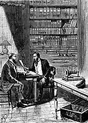 Alexander Graham Bell (1847-1922) Scottish-born American inventor; patented telephone 1876. Bell filing caveat for his telephone at United States Patent Office at 3pm on 14 February, just 2 hours before Elisha Gray. Bell's telephone is on the table, right. Wood engraving published Paris c1890
