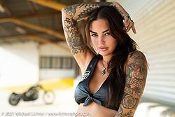 Tattoo artist Mara O'Hara with a factory sponsored custom built by Paul Cox with Keino Sasaki. Long Beach, CA. USA. Monday August 30, 2021. Photography ©2021 Michael Lichter.
