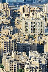 View across faux  Old Town residential district in Downtown Dubai United Arab Emirates