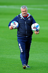 Cheltenham Town assistant manager Russ Milton leads the warm up session- Mandatory by-line: Nizaam Jones/JMP - 10/10/2020 - FOOTBALL - Jonny-Rocks Stadium - Cheltenham, England - Cheltenham Town v Crawley Town - Sky Bet League Two