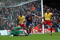 Photo: Tony Oudot.<br /> Watford v Newcastle United. The Barclays Premiership. 13/05/2007.<br /> Michael Owen of Newcastle closes in on goal but it is saved by Ben Foster of Watford